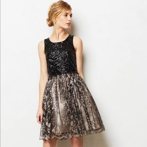Anthropologie Sequin and Gold Lace Dress
